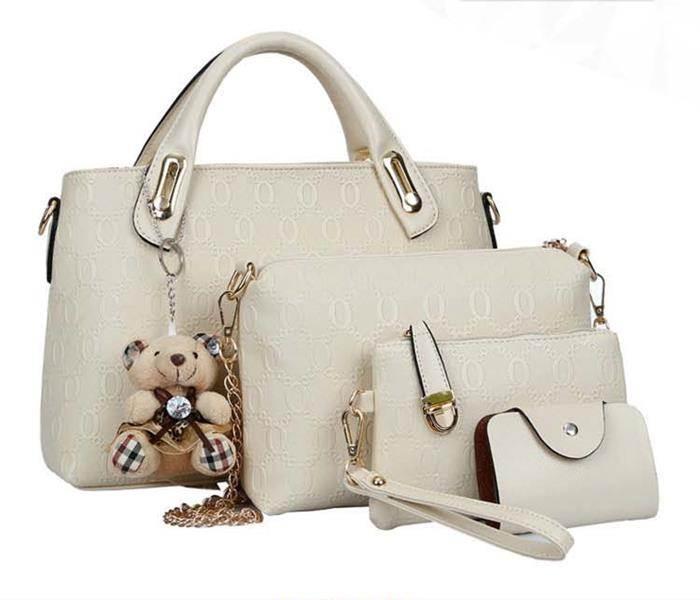 Tas Fashion Wanita 4 in 1 Dengan Boneka Warna Putih