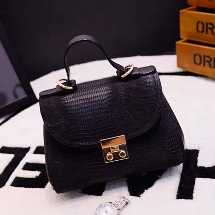 Hand Bag Impor Bahan Pu Leather Hitam TF778