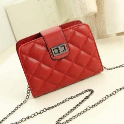 Sling Bag Mini Simple Design With Clip Lock Merah