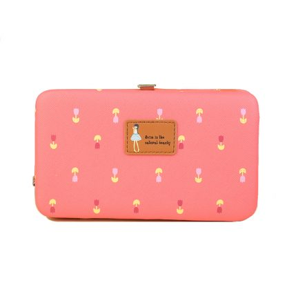 Jims Honey Cute Flower Printing Women Clutch Wallet - Hot Pink