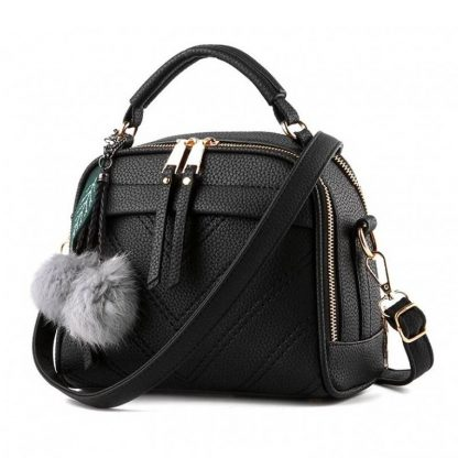 Tas Fashion Wanita With Pompom - Black