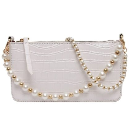 Women's Crocodile Pattern Shoulder Bag with Pearls Strap